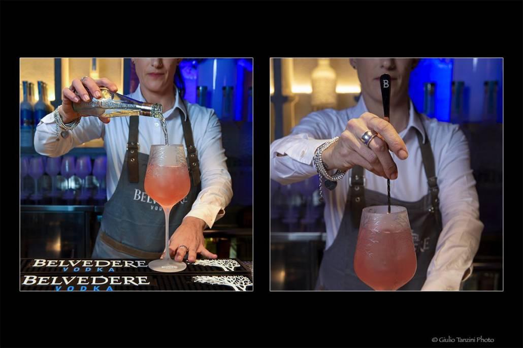 preparazione cocktail bartender cocktail belvedere vodka