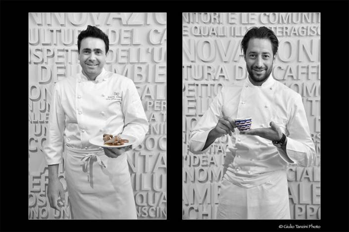 Chef Daniel Canzian e Luigi Taglienti chef stellati cliente Illy caffé a Trieste