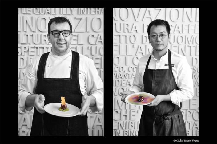 Chef Alessandro Gavagna e Yoji Tokoyoshi chef stellati cliente Illy caffé a Trieste